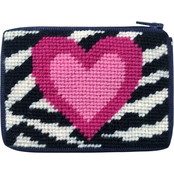 Beginner Needlepoint Kit Coin Purse Zebra Heart