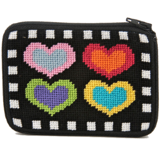 hearts on black stitch and zip needlepoint coin purse