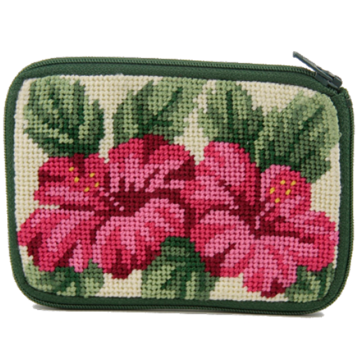 Hibiscus needlepoint coin purse
