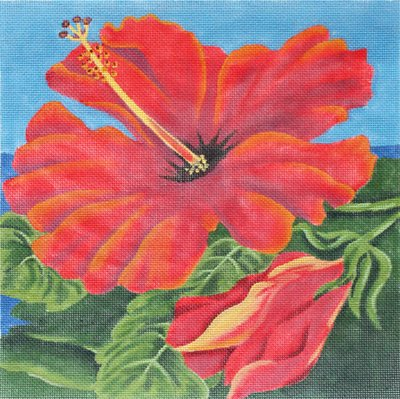 Crimson Hibiscus by Karen Dukes   - Canvas Only
