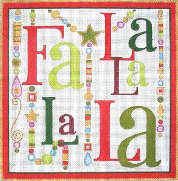 Fa La La Christmas needlepoint with Baubles by Raymond Crawford