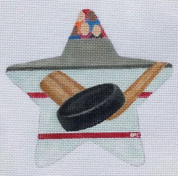 Hockey Needlepoint Star Ornament  - Canvas Only