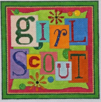 Girl Scout needlepoint  - Canvas Only
