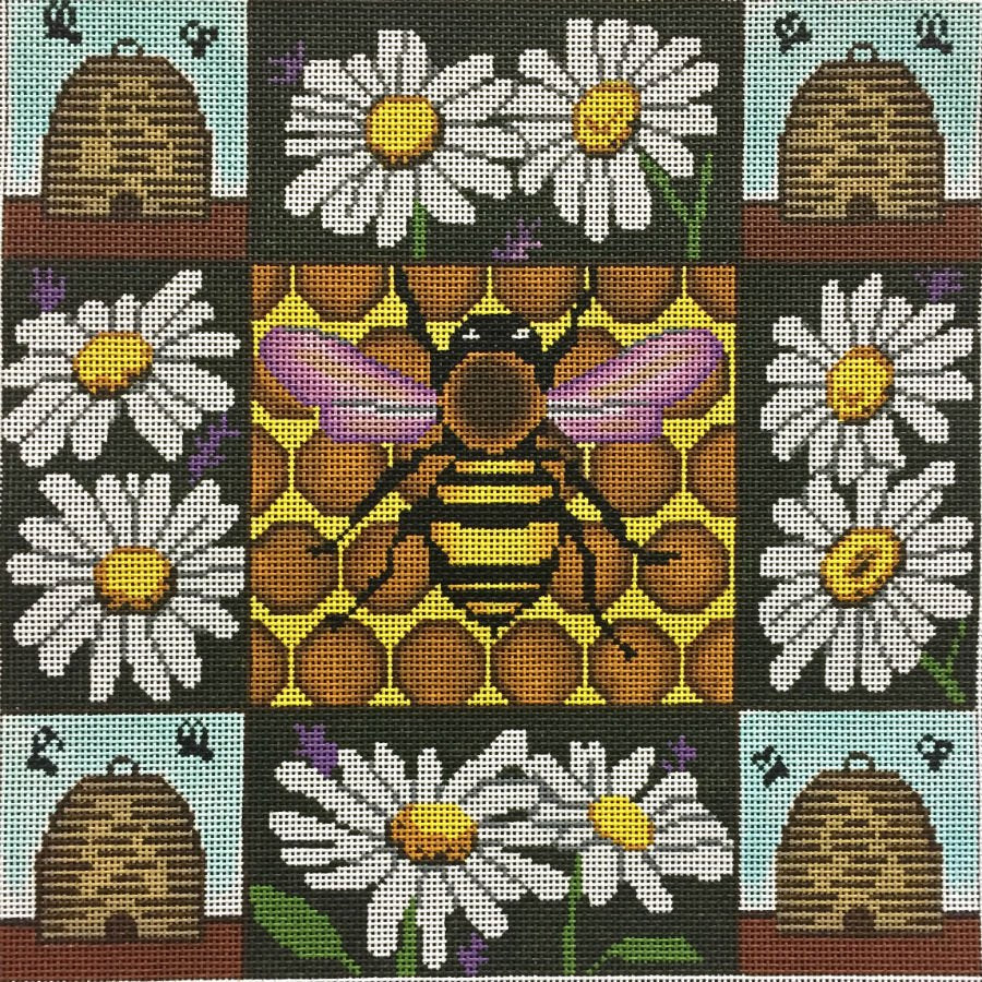 Honey Bees and Daisies Needlepoint - Canvas Only