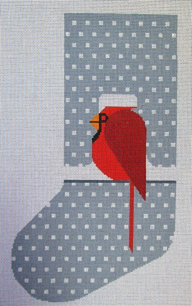 Charley Harper Needlepoint Stocking Cool Cardinal  - Canvas Only