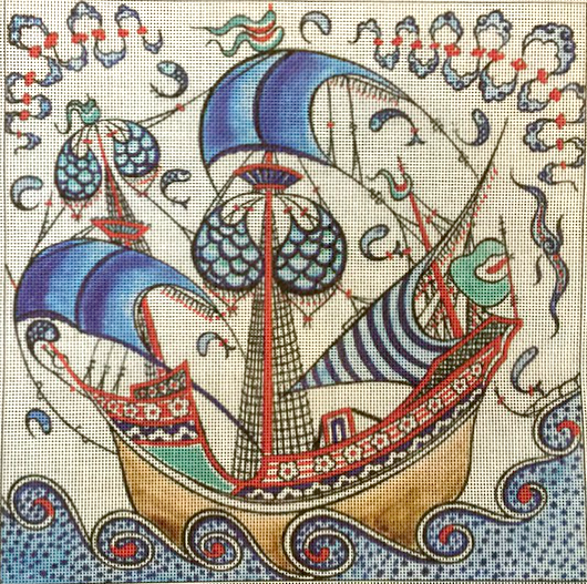 Iznik Sailboat Needlepoint Kit