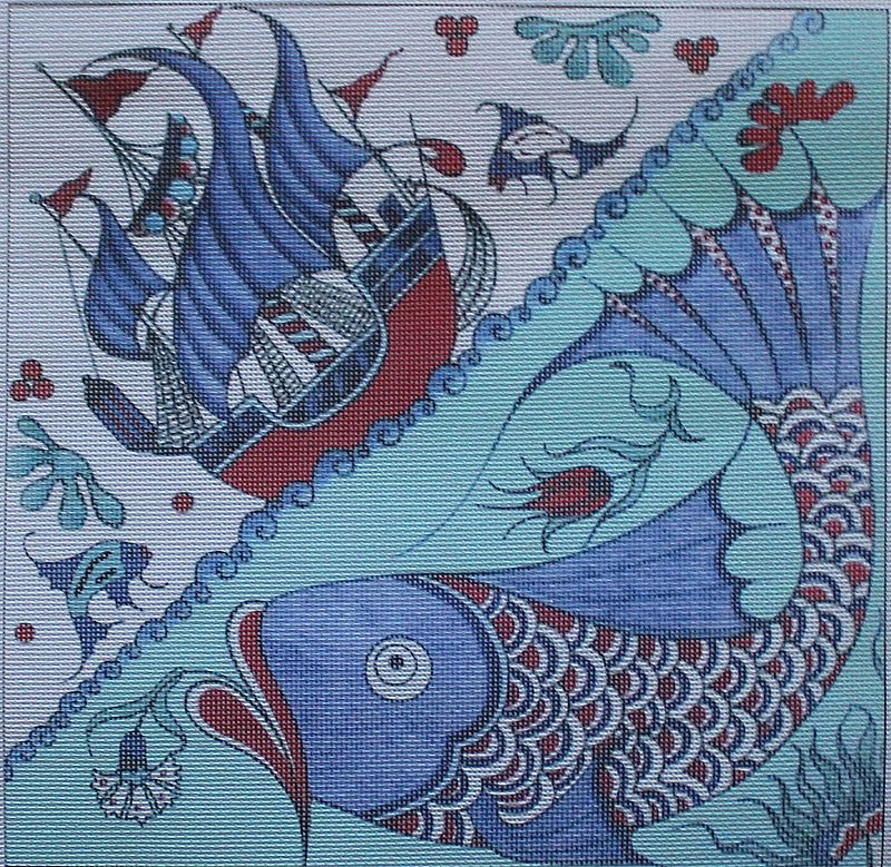Iznik Fish and Sailboat Needlepoint Kit