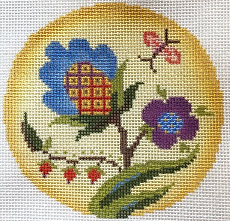 Jacobean Glow Needlepoint Ornament  - Canvas Only