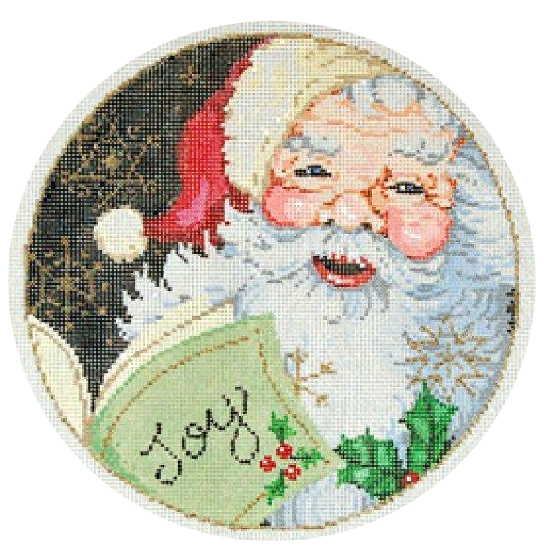 joy needlepoint ornament by Sandra Gilmore