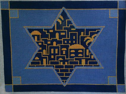 Judaic Needlepoint<BR>Golden City Tallis Blue - Canvas Only