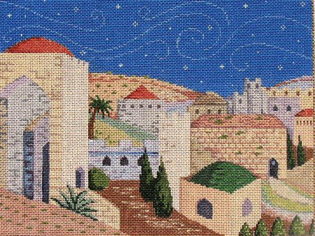 Judaic Needlepoint Jerusalem - Canvas Only