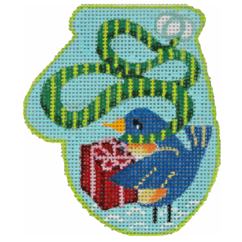 Bird's Gift Mini Mitt Needlepoint by Julie Mar