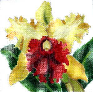 Cattleya Orchid golden easy stitch needlepoint for beginners