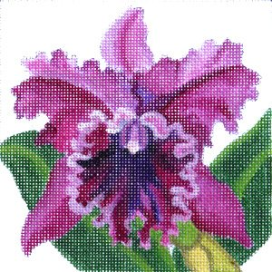 Cattleya Orchid needlepoint in pinks for easy stitching needlepoint