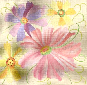 Easy to stitch floral Cosmos needlepoint by Julie Mar on 7 mesh canvas