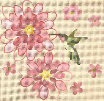 Hummingbird Summer Easy Stitch needlepoint by Julie Mar on 7 mesh canvas.