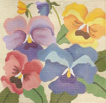 Pansies easy to stitch needlepoint on 7 mesh by Julie Mar