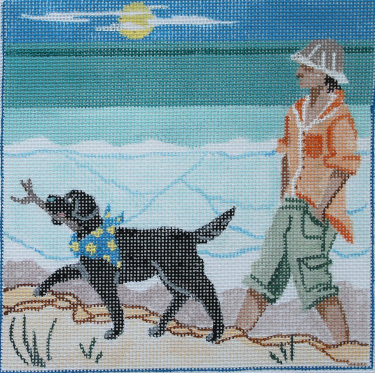 Walking the Dog needlepoint canvas by Julie Mar