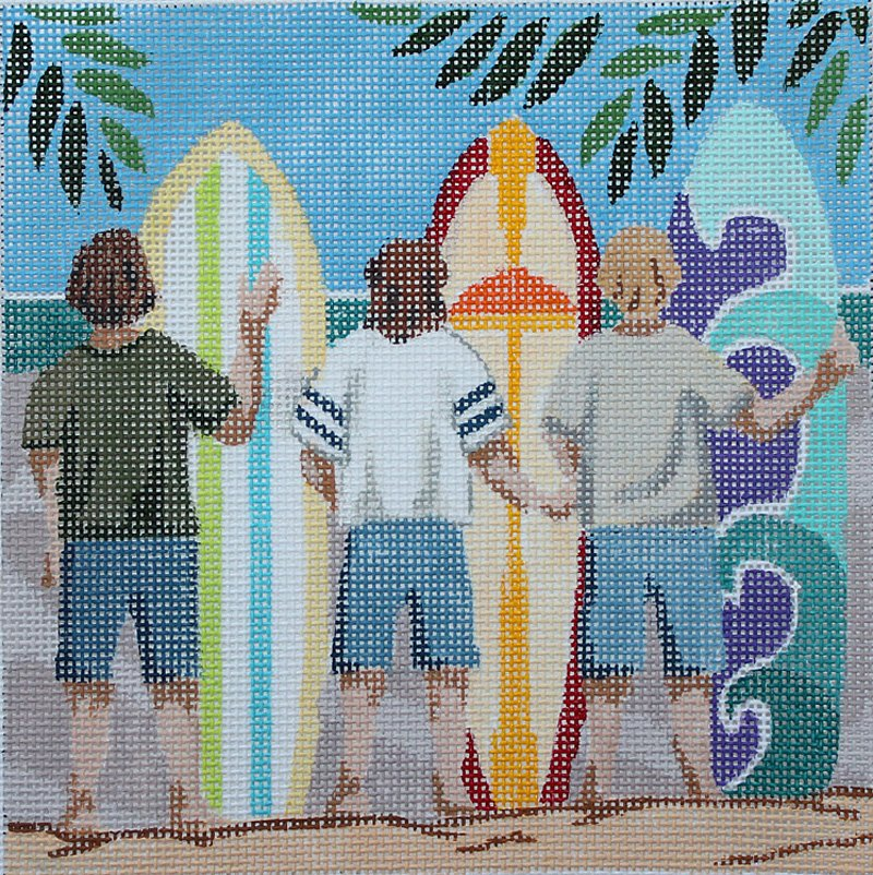 Surfer Boys needlepoint by Julie Mar