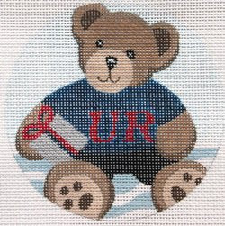 Collegiate Ornament - Teddy bear  - Canvas Only
