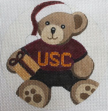 Collegiate Ornament - Teddy bear with hat - Canvas Only