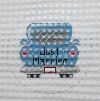 Just Married car ornament - Canvas Only