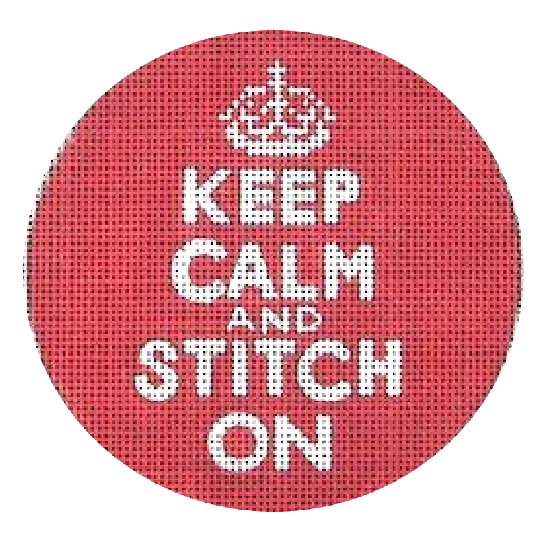 Keep Calm and Stitch on needlepoint ornament