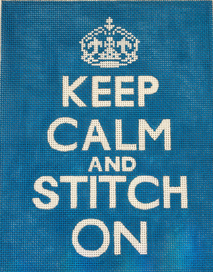 Keep Calm and Stitch On (Blue)