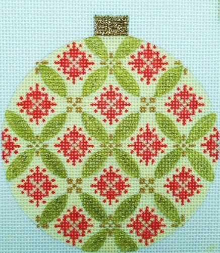 Florentine Green & Red Needlepoint Ornament - Canvas Only
