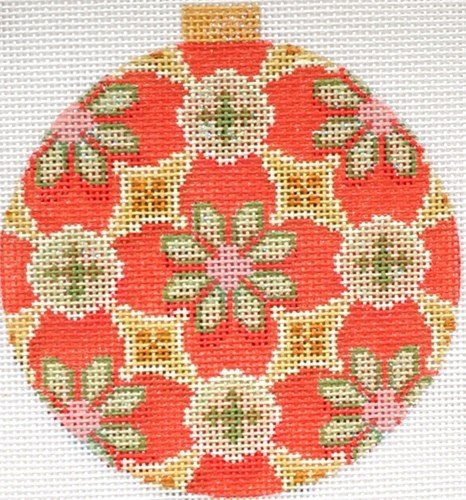 Florentine Sage/Red Needlepoint Ornament - Canvas Only