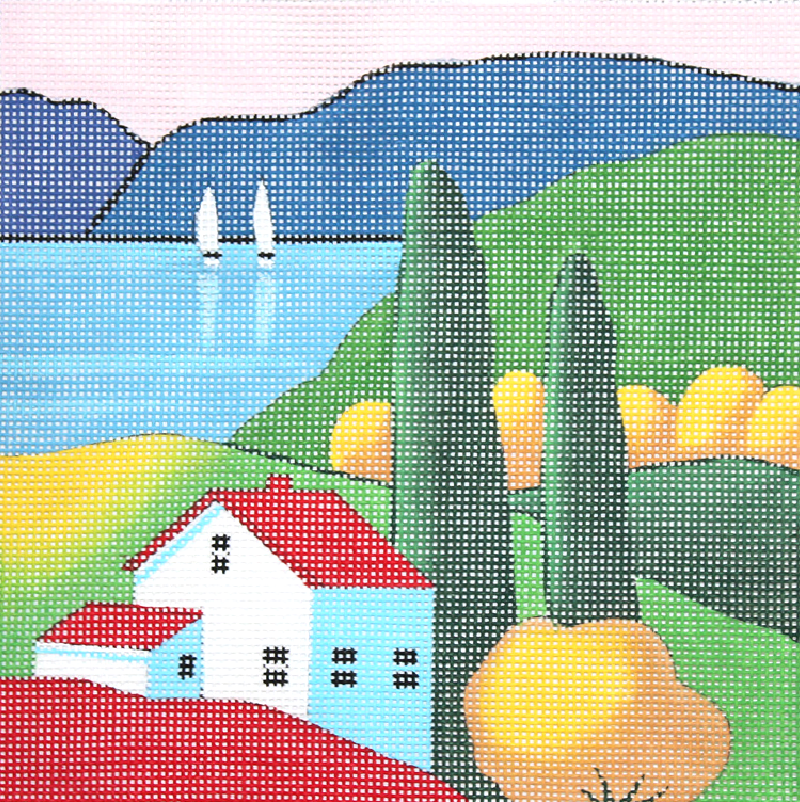 House by the Lake needlepoint canvas design by Steven Klein