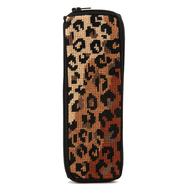 Leopard print stitch and zip needlepoint kit half specs case