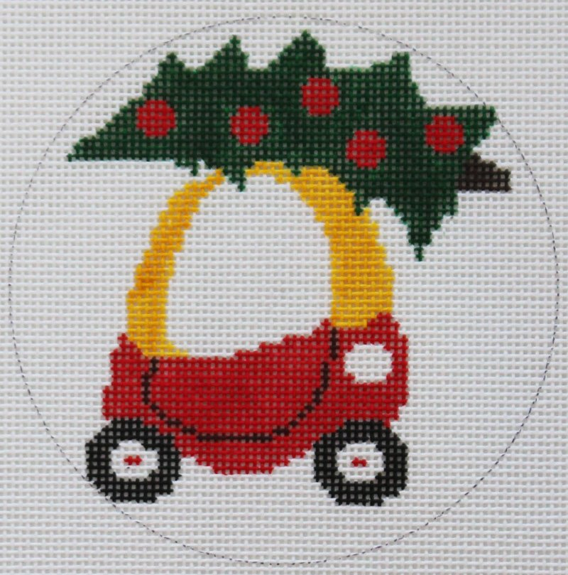 Little Tykes Christmas Car Needlepoint Ornament by Valerie VNG