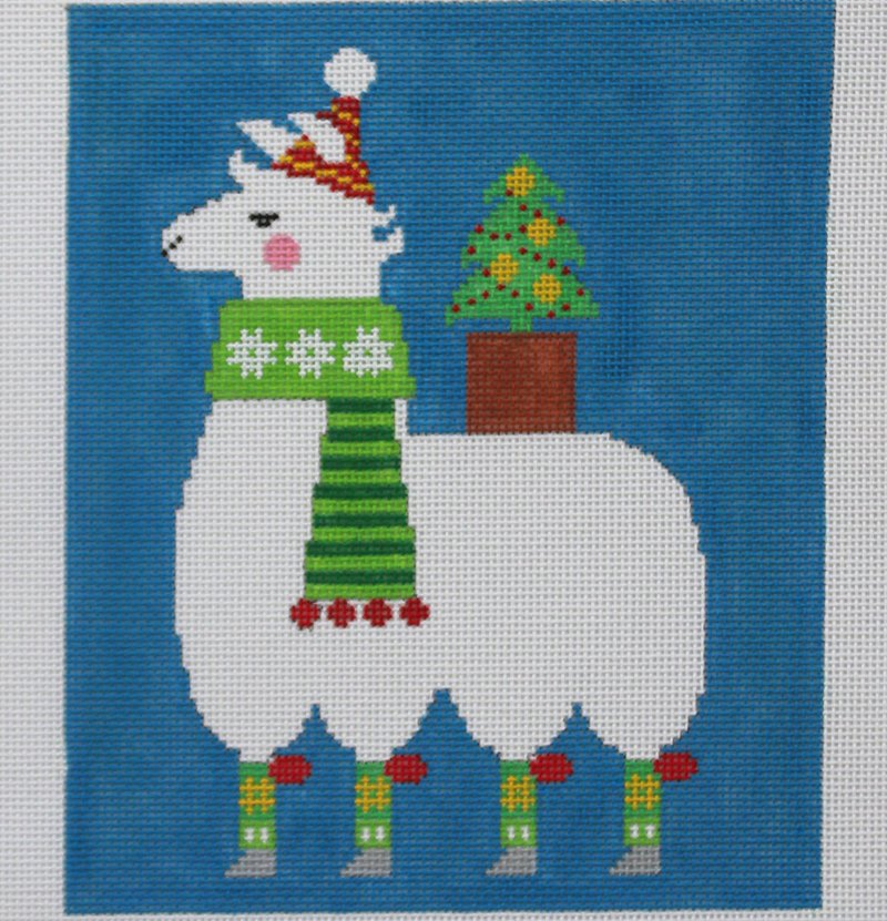 Llama with tree needlepoint by Tapestry Fair
