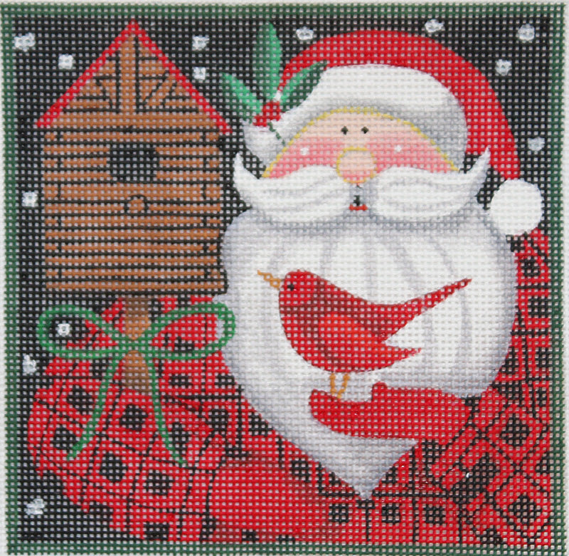 Maggie Needlepoint Santa with Birdhouse