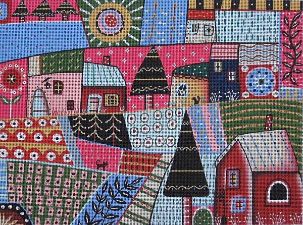 Maggie Needlepoint Abstract Town - Canvas Only