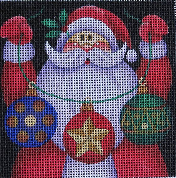 Maggie Needlepoint Santa Ornament 2 - Canvas Only