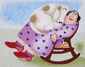Maggie Needlepoint Shelter design of a cat in a lap
