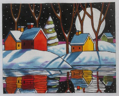 Maggie Needlepoint Night Snow Reflections - Canvas Only