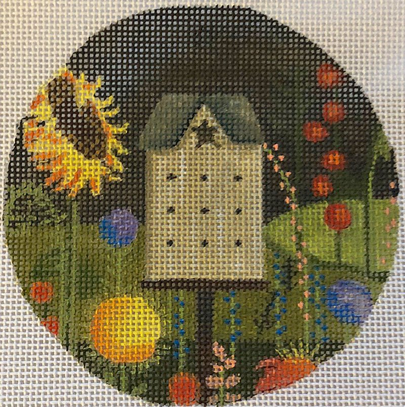 Bird house needlepoint ornament by Mary Charles