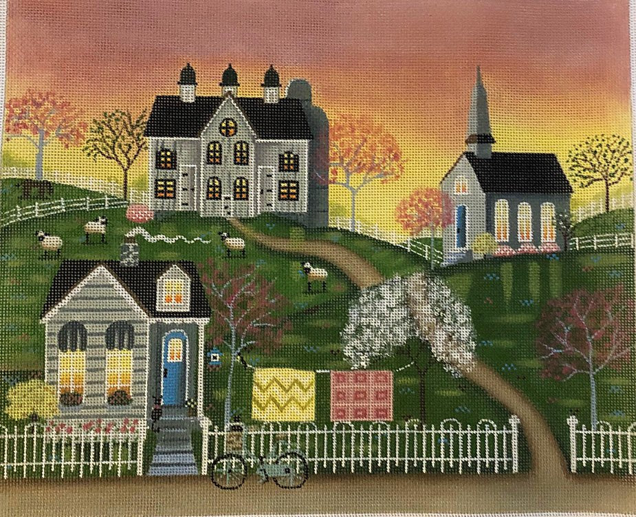 Small town Main Street needlepoint canvas by Mary Charles