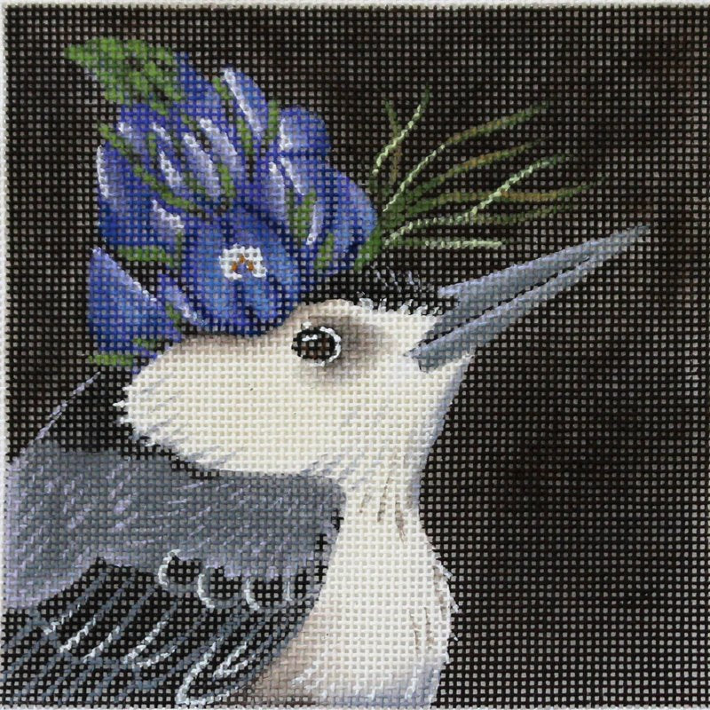 Lupin Prince bird needlepoint from Melissa Shirley. Design by Vicky Sawyer.