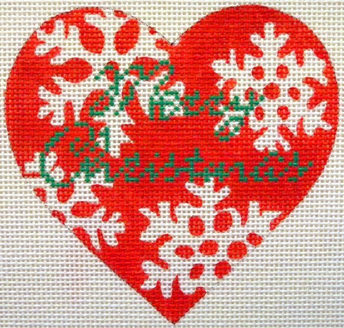 Red Snowflake Needlepoint Ornament - Canvas Only