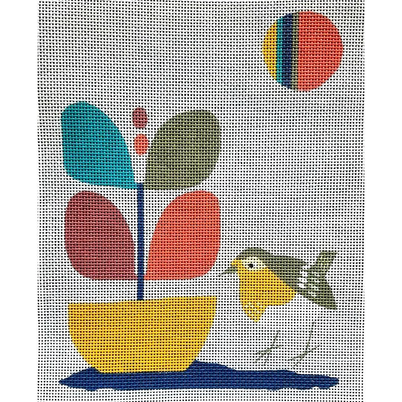 Mid-Century Modern Needlepoint Bird in a Garden