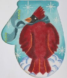 Fat Cardinal Christmas mitt  - Canvas Only