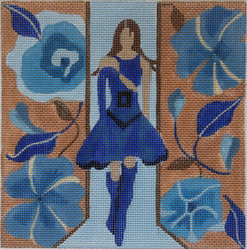 Windows of Milan: Girl in blue dress by Melissa Prince