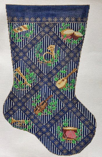 Needlepoint Christmas Stocking Musical Instruments - Canvas Only