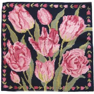 Navy China Tulips Needlepoint Kit