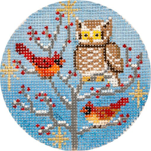 Needlepoint Christmas Ornament Owl and Cardinals - Canvas Only