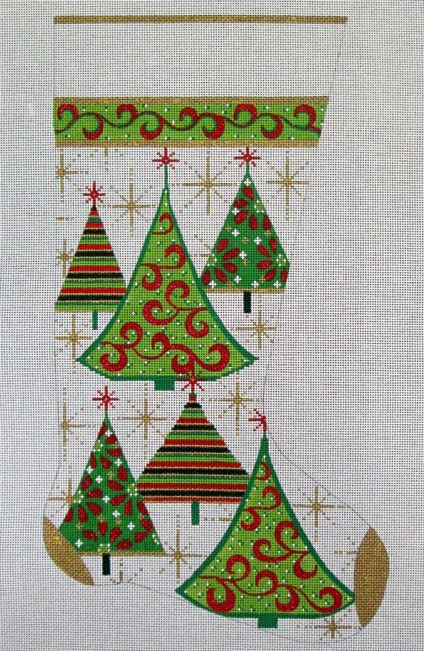 Needlepoint Christmas Stocking Gold Trees - in stock - Cavnas Only